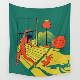 Dancing with the cat   Moody sunset light and shadows Aesthetic Green room Naked dance Femme Fatale  Wall Tapestry