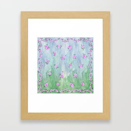 Petunias over Blue and Green with Scalloped Border Framed Art Print