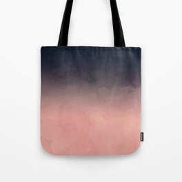 Modern abstract dark navy blue peach watercolor ombre gradient Tote Bag
