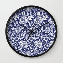 "William Morris Floral Pattern | ""Pink and Rose"" in Navy Blue and White Wall Clock"
