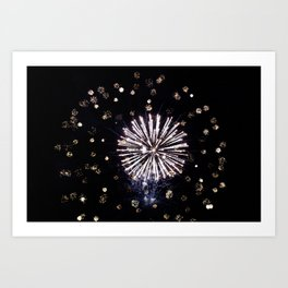 Fireworks in Harrison Hot Springs BC Canada Art Print