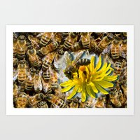 bees Art Prints featuring Bees by Moody Muse