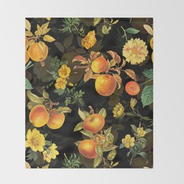 Vintage & Shabby Chic - Midnight Golden Apples Garden Throw Blanket