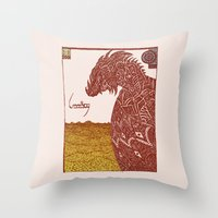 smaug Throw Pillows featuring Smaug and His Treasure by Hinterlund