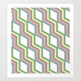 Pastel Cheveron Pattern Art Print