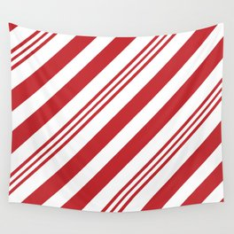 Red Candy Cane Stripes Wall Tapestry