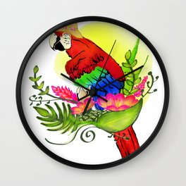 Panama Parrot in Paradise Wall Clock