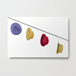 isolated colorful hats hanging at the party Metal Print