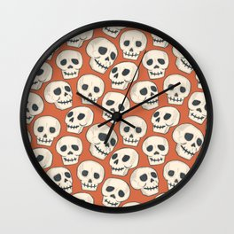 Spooky-vibe Skulls with Orange background  Wall Clock