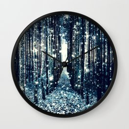 Magical Forest Teal Gray Elegance Wall Clock