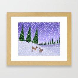 deer in the winter woods Framed Art Print