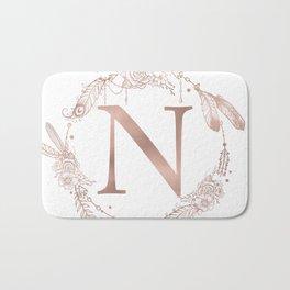 Letter N Rose Gold Pink Initial Monogram Bath Mat
