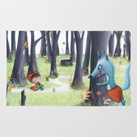 red hood Area & Throw Rugs featuring Red Riding Hood by Antoana Oreski Illustration