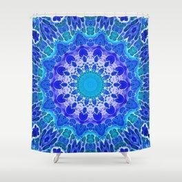 Azure Flower Mandala Shower Curtain