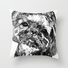Shih Tzu Dog Art In Black And White by Sharon Cummings Throw Pillow