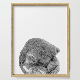 koala holding little koala b&w Serving Tray