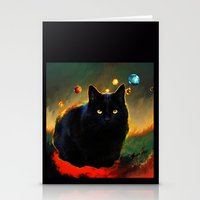 black cat Stationery Cards featuring black cat by ururuty