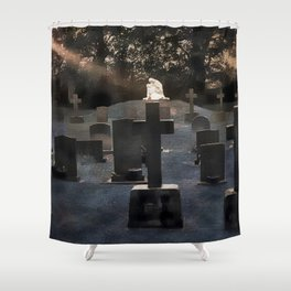 Gravestones and statue Shower Curtain