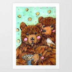 Bears with Porridge Art Print