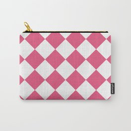 Large Diamonds - White and Dark Pink Carry-All Pouch
