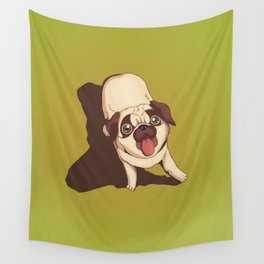 Pug in the Park Wall Tapestry