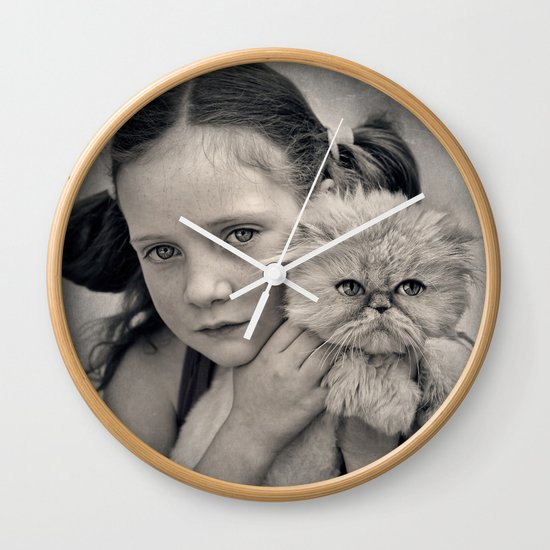 A Girl and her Cat Wall Clock