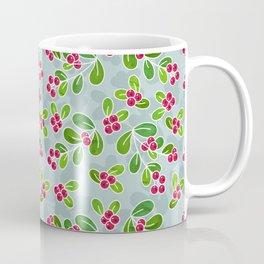 Cranberry Fruit Pattern on Blue-Grey Coffee Mug