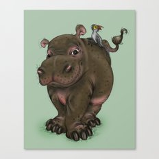 Hippo and Bird Friend Canvas Print