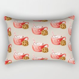 Hot Cocoa Mug and a Chocolate Chip Cookie, Retro Christmas Sweets Pattern, Hand-painted Watercolor Rectangular Pillow