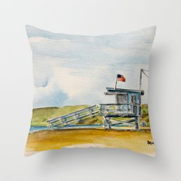 Santa Monica Beach - Lifeguard Tower #8 Throw Pillow
