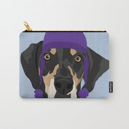Purple hat Black and Tan Coonhound Carry-All Pouch