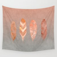 feathers Wall Tapestries featuring Feathers by LebensART