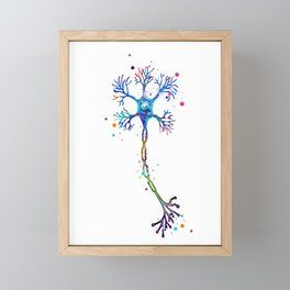 Motor Neuron Art Brain Cell Anatomy Art Colorful Blue Purple Watercolor Medical Science Art Framed Mini Art Print