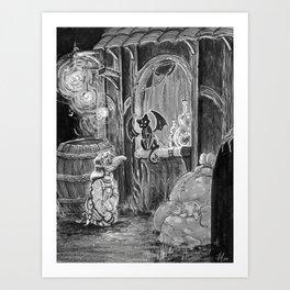 Alice meets the Winged Beast Art Print