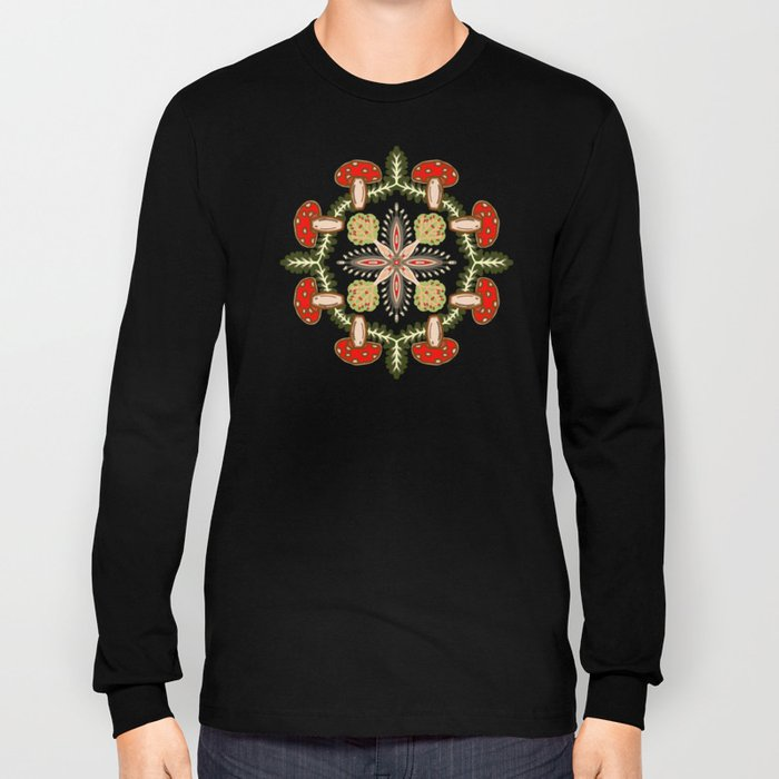 Fly Agaric Toadstool Forest Folkart, Red Fungi Mushroom Design with Trees Long Sleeve T-shirt