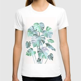 Delicate Monstera Blue And Green #society6 T-shirt