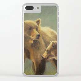 MAMA GRIZZ FIERCE AND FREE Clear iPhone Case