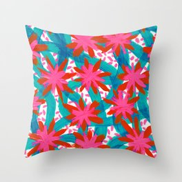 Electric Pink Flowers Throw Pillow