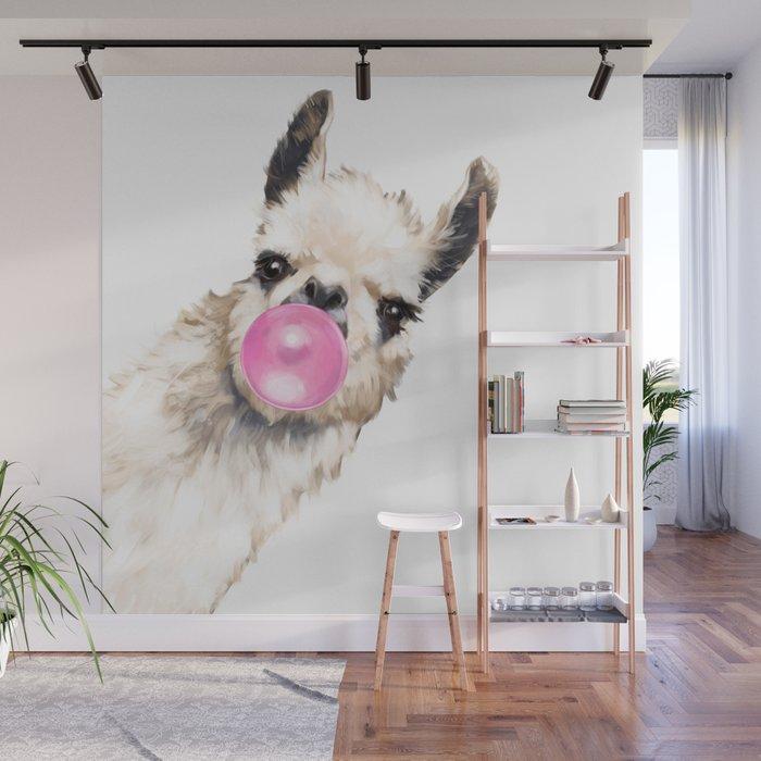 Bubble Gum Sneaky Llama Wall Mural