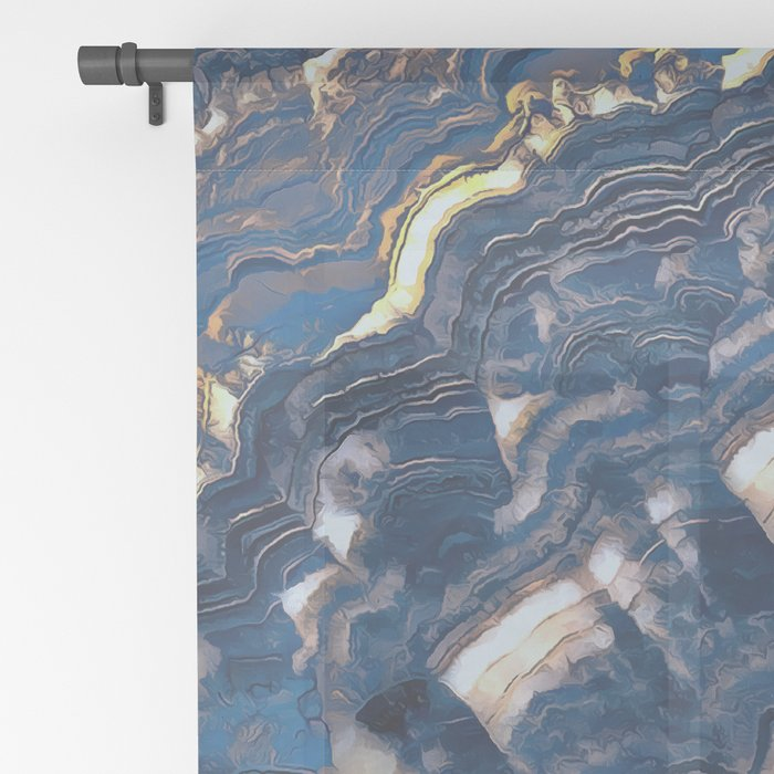 Blue marble with Golden streaks Sheer Curtain