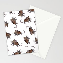 Cute Brown Field Mice, Mouse, Oil Pastel Art, Pattern Stationery Cards