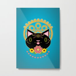 Earnest Black Cat With Halo Metal Print