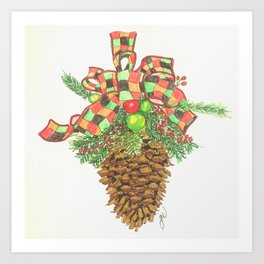 Holiday Pine Cone Art Print