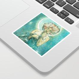 Alphonse Mucha Moonlight Art Nouveau Sticker