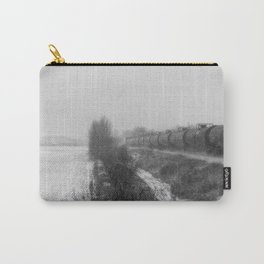 Winter LocomotionII Black and White Carry-All Pouch