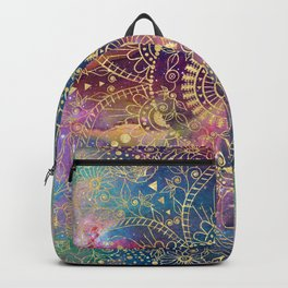 Gold watercolor and nebula mandala Backpack