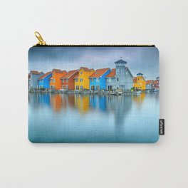 Blue Morning at Waters Edge Groningen Netherlands Europe Coastal Landscape Photograph Carry-All Pouch