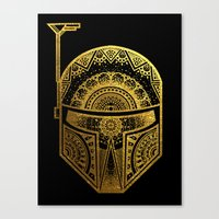gold foil Canvas Prints featuring Mandala BobaFett - Gold Foil by Spectronium - Art by Pat McWain