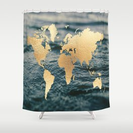 Gold Map in Water Shower Curtain
