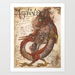 Amphisbaena from the Field Guide to Dragons Art Print